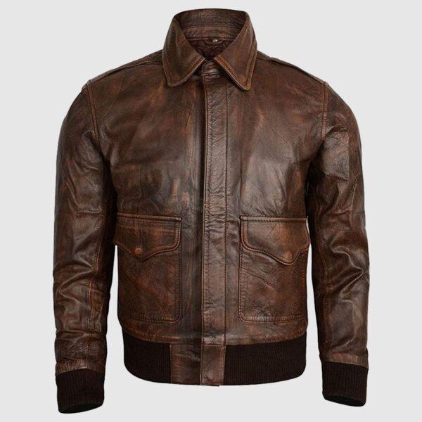 Men's Flight Bomber Air Force Brown Sheepskin Distressed Leather Jacket