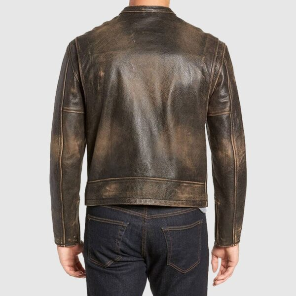 Mens Cafe Racer Distressed Vintage Brown Real Leather Biker Jacket