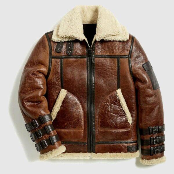 Mens Winter Aviator RAF B3 Shearling Real Sheepskin Leather Jacket