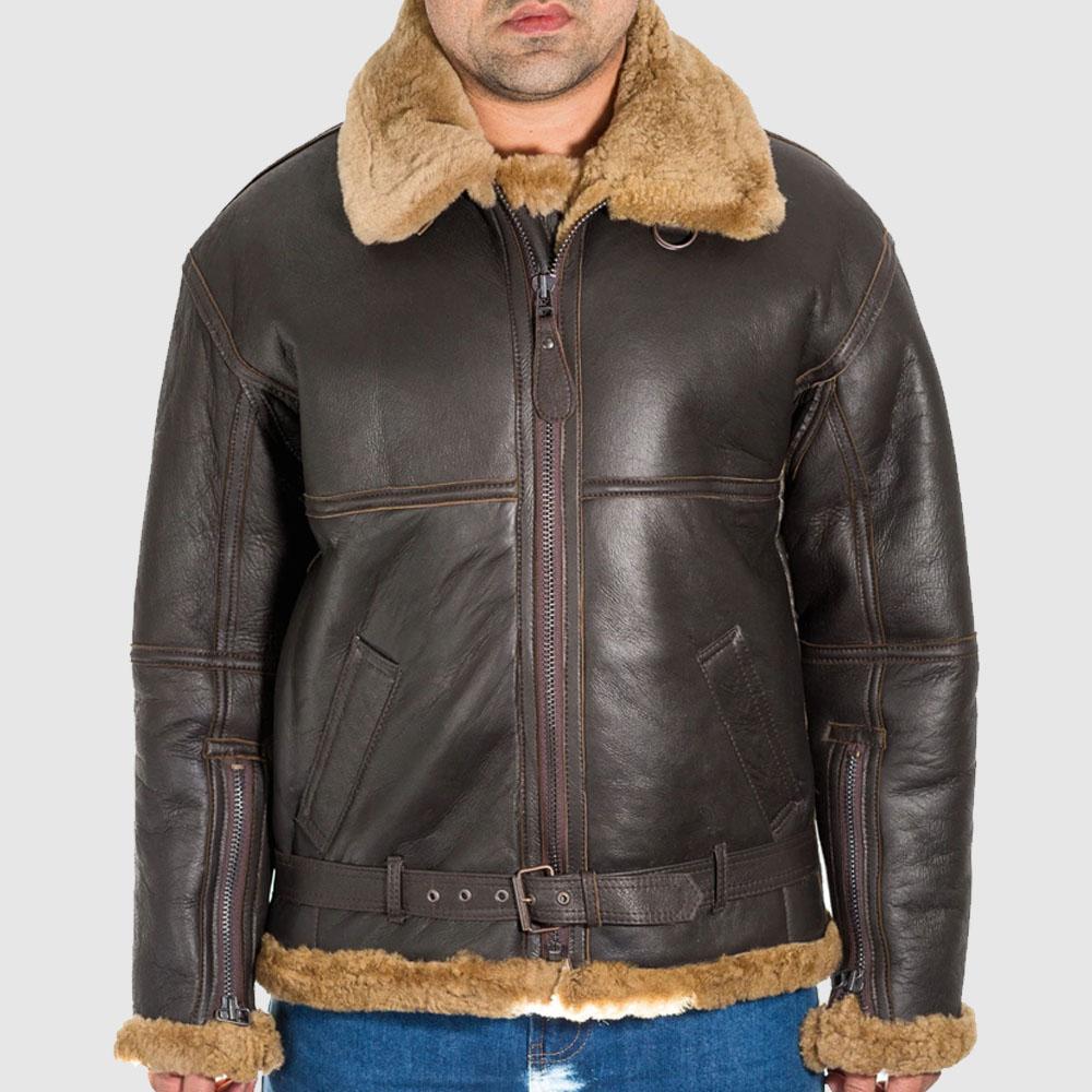 Mens brown leather aviator B3 ginger shearling sheepskin WW2 RAF flying jacket.