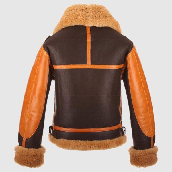 RAF Men's B3 Brown Sheepskin Bomber Shearling Leather Jacket