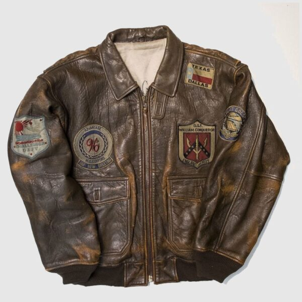 Vintage style 80s top gun military flight bomber distressed leather jacket