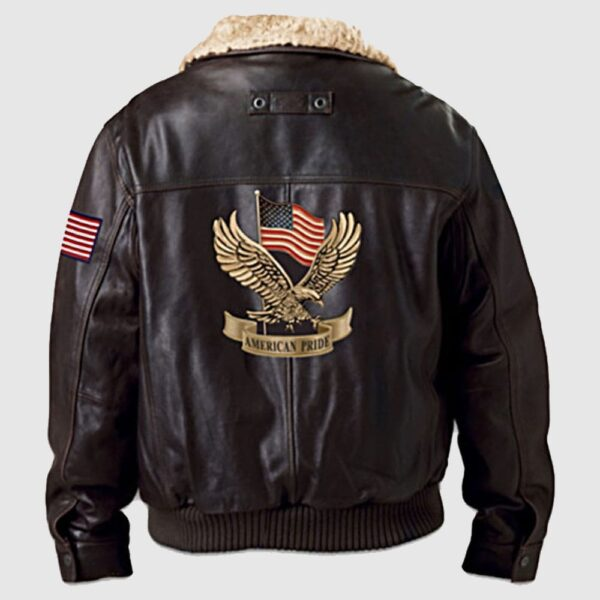 American Pride Men's Brown Leather Aviator Jacket