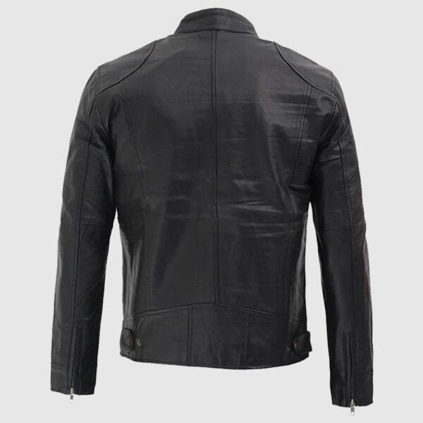 Dodge Black Leather Jacket Men's