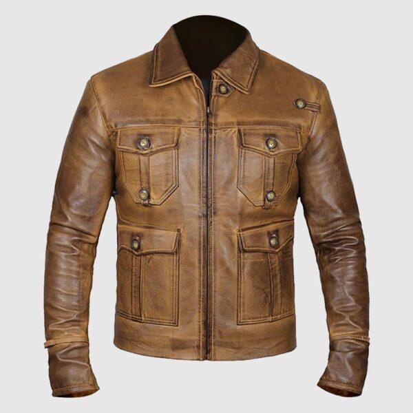Expendable Rough Vintage Cognac Leather Jacket
