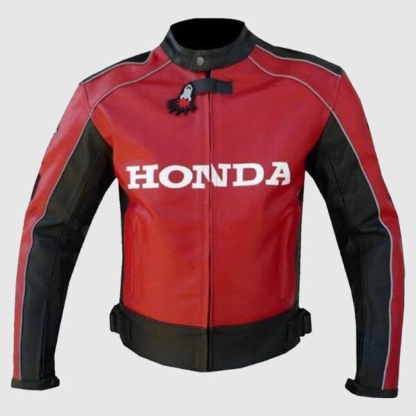 Honda Red Unique Wing Motorcycle Racing MotoGP Leather Jacket