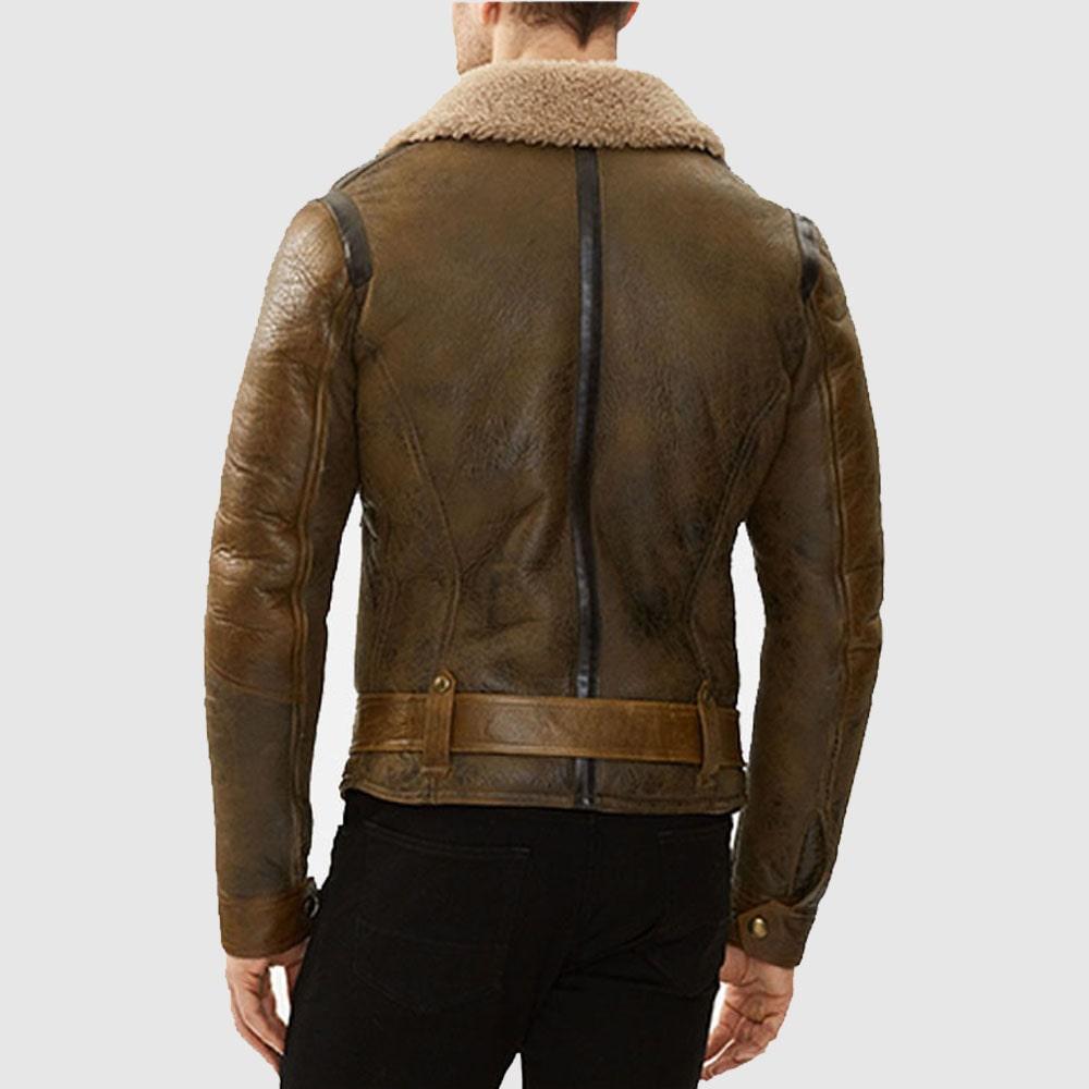 Men B3 Aviator Shearling Brown Sheepskin Leather Flight Bomber Jacket
