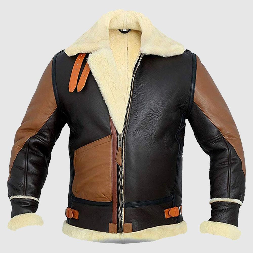 Men B3 Bomber Aviator Real Shearling Bomber Sheepskin Leather Jacket