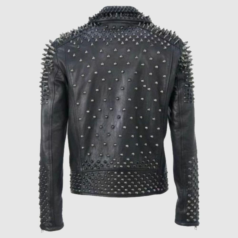 Men Make to Order Rock Punk Studded Jacket, Moto Biker Jacket