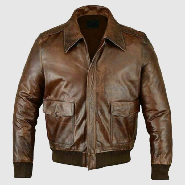 Mens A2 Jet Flight Bomber Distressed Cafe Racer Leather Jacket Motorcycle Bikers-min