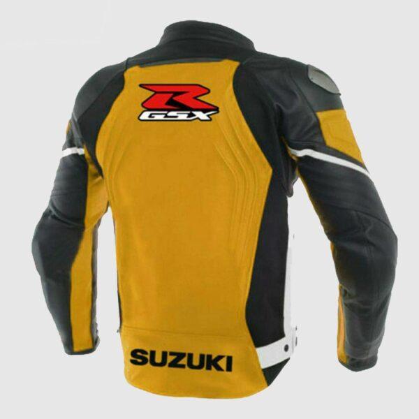 Men's Suzuki GSXR Yellow Leather Motorcycle MotoGP Racing Jacket