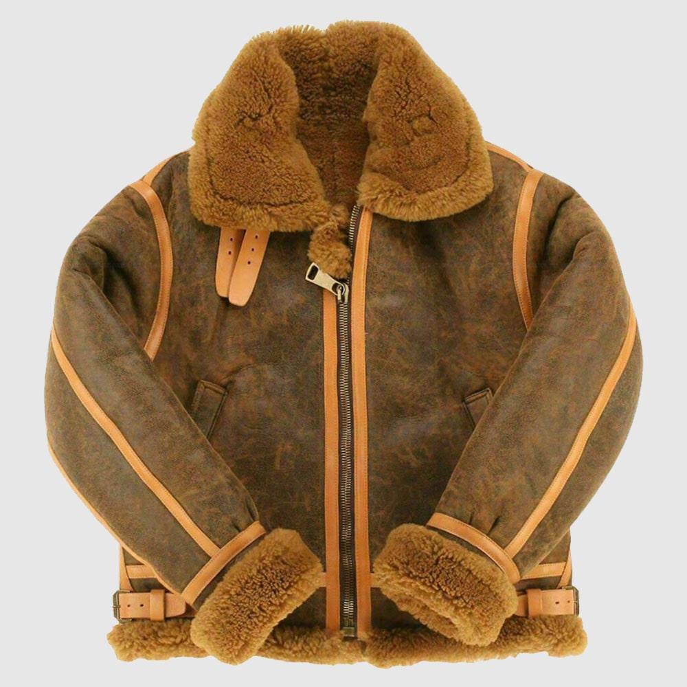 B3 Bomber Aviator Flying Bomber Real Shearling Leather Jacket For Men