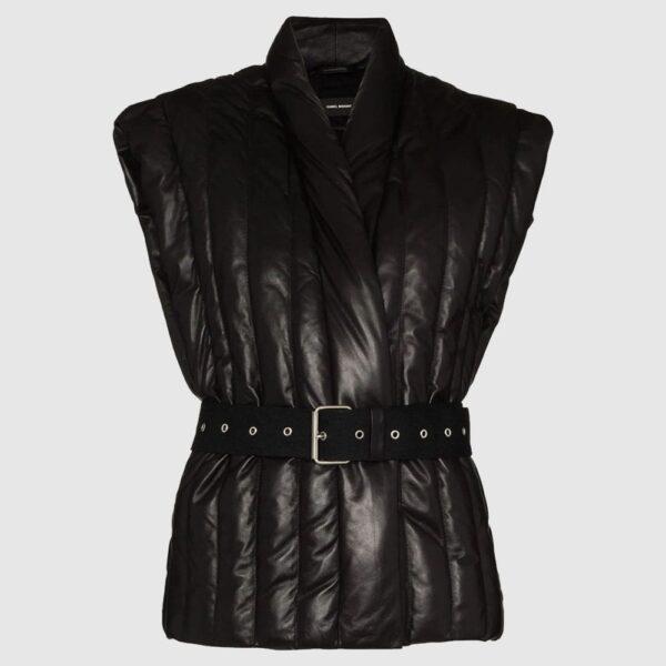 Ajali belted sleeveless jacket for sale
