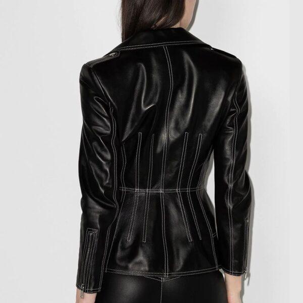 Alexander McQueen Contrast Stitching Lambskin Biker Fashion jacket