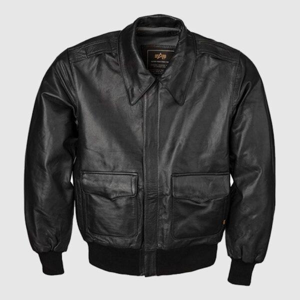 Alpha Black Goatskin Modern A-2 Leather Jacket