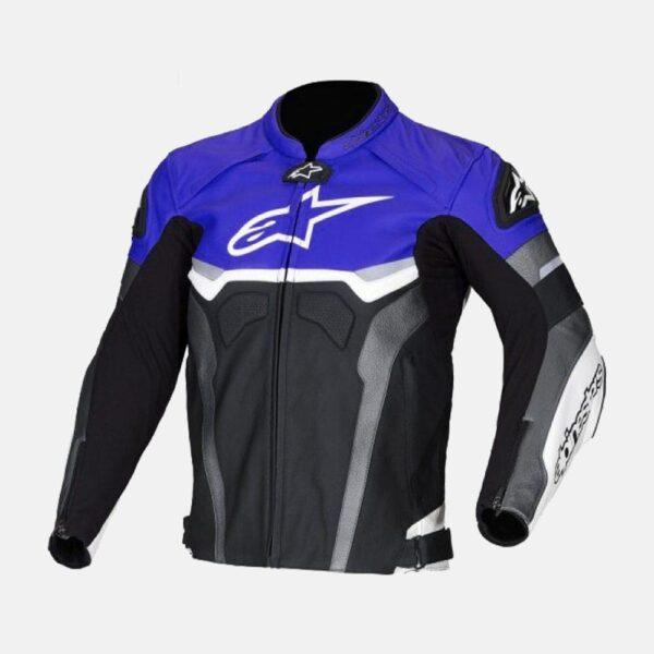 Alpinestars Blue Croes Celer Leather Motorcycle Motogp Leather Jacket