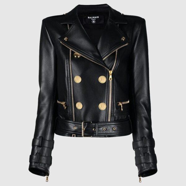 Balmain Button-detail Leather Biker Jacket