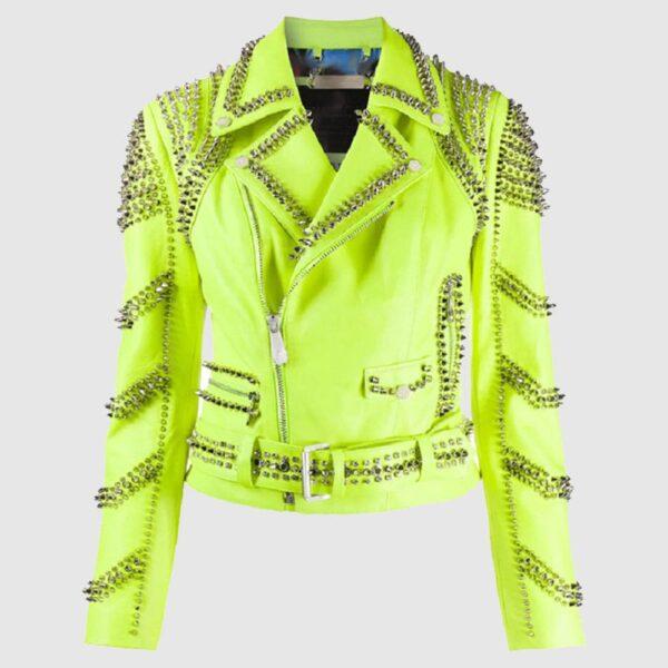 Brando Green Spiked Leather Lapel Fastener Women Studded Jacket