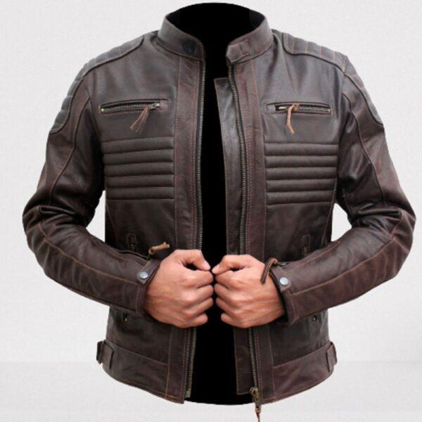 Brown Leather Biker Racer Jacket for Men Leather Apparel Fashion Jacket