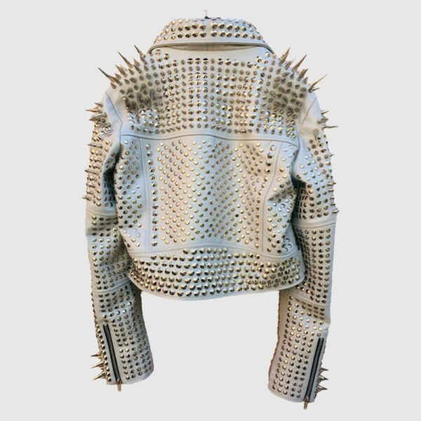 Comfortable White Color Brando Metal spiked Leather Round Studs Jacket