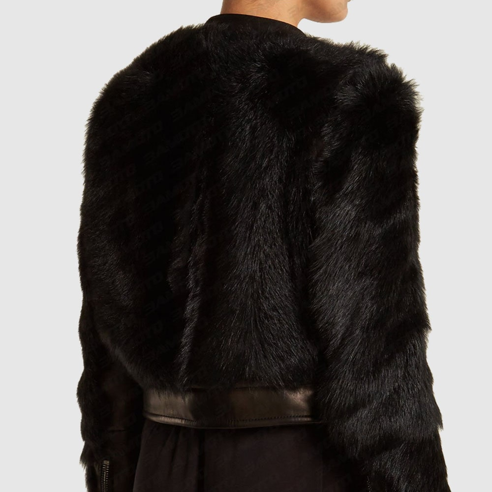 Contrast-Sleeve Leather & Shearling Biker Jacket