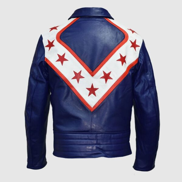 A tribute to Evel Knievel, the World Famous American DAREDEVIL and Entertainer Design: Premium Analine treated 100% 1mm soft Cowhide, durable, rear zip attachment (for optional trouser for biker grade leather option ONLY), internally smooth contrasting polyester lined Armour: Applicable to the biker version only is 5 piece all removable high quality padding, i.e. Back (1), Shoulders (2) and Elbow (2) applicable to Biker Grade Leather option Style: Casual jacket style is as shown in the images above. Made and supplied to order Style: A tribute to Evel Knievel, the world famous American daredevil and entertainer