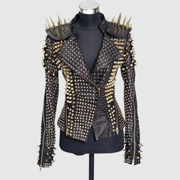 Gold Spiked Punk Style Heavy Metal Real Leather Biker Cocktail Jacket