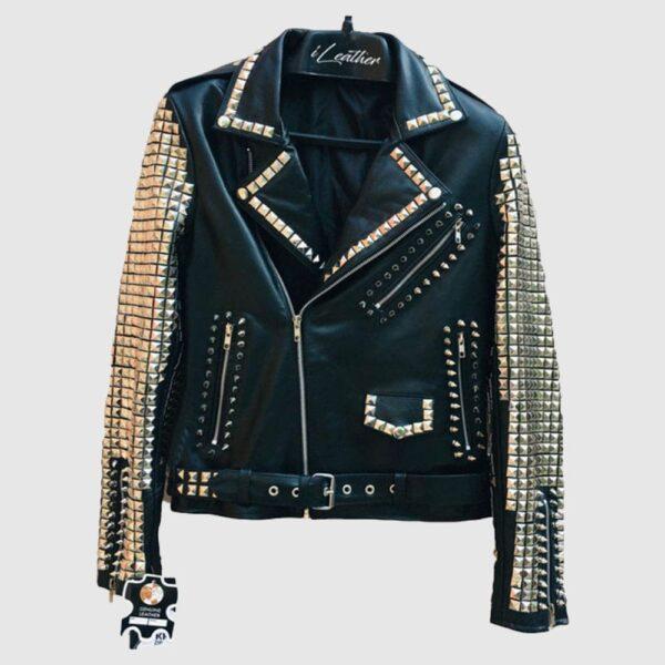 Handmade Black Color Women Silver Metal Studded Punk Leather Jacket