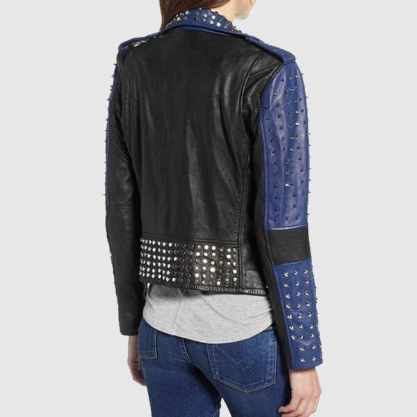 Handmade Women Two Color Punk Style Studded Leather Jacket