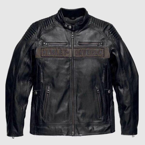Harley Davidson Mens Asylum Leather Motorcycle Jacket