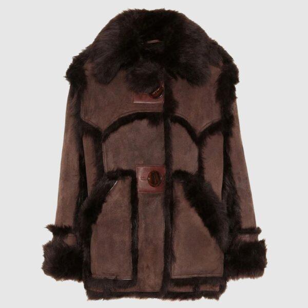 Brown Shearling Leather Fur Coat