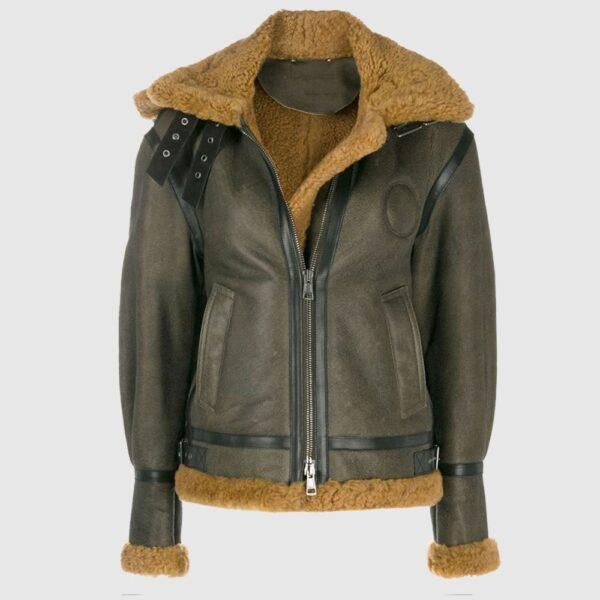 Khaki Green Shearling Aviator Coat