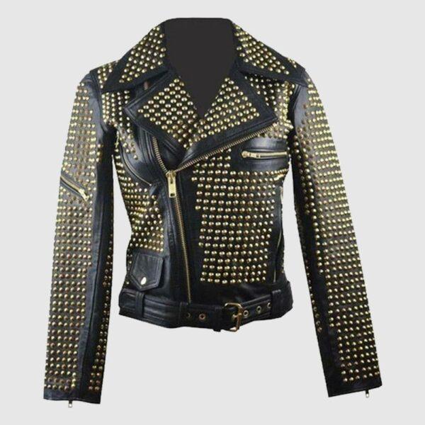 Ladies Black Leather Golden Studded Stylish Jacket Studded Punk Jacket