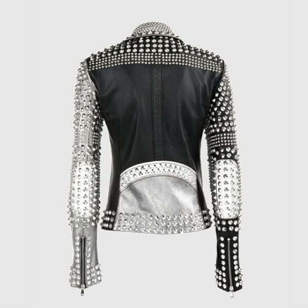 Ladies Brando Silver Black Cone Studded Leather Zippered Gothic Jacket