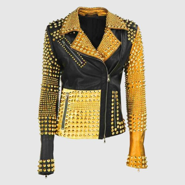 Luxury Colorful Trendy Apparel Gold Studded Punk Rock Leather Jacket