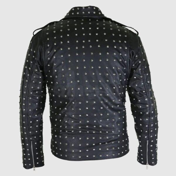 Marlon Black Brando Men Studded Leather Jacket