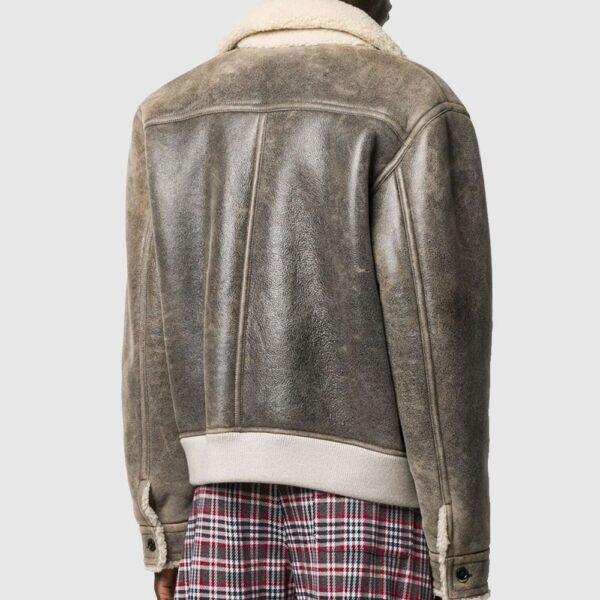 Marni Shearling Jacket Distressed Leather Jacket