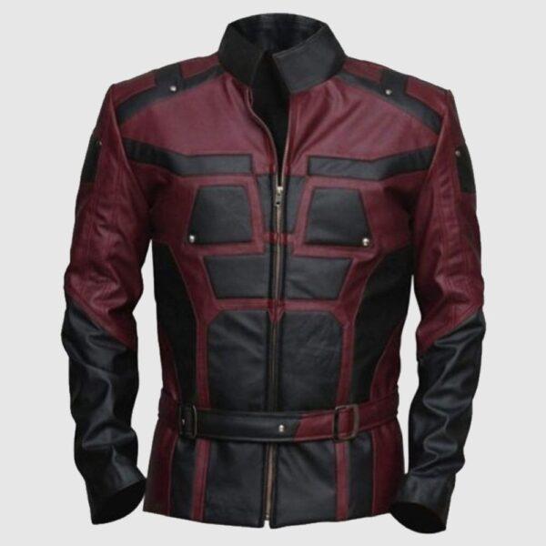 Charlie Cox Daredevil Costume Leather Jacket Maroon Black Contrast