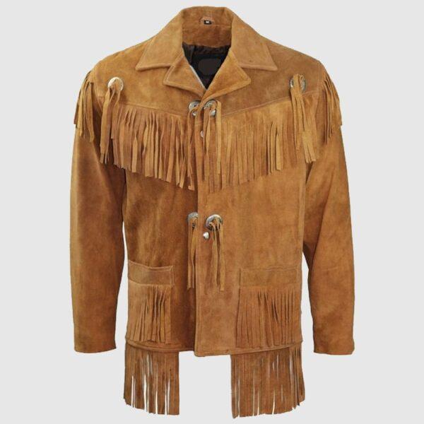 Men Cowboy Suede Western Jacket Cowboy Leather Jacket With Fringe