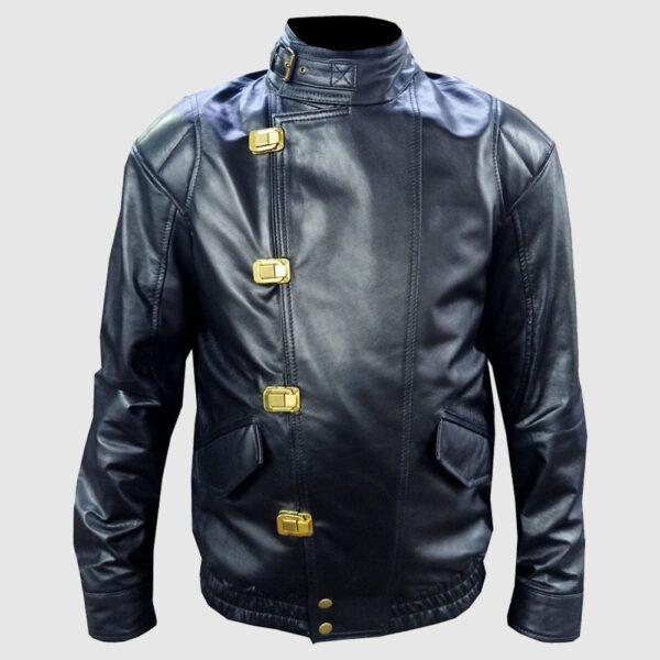 Men Akira Shotaro Kaneda Capsule Logo Pill Bomber Black Leather Jacket
