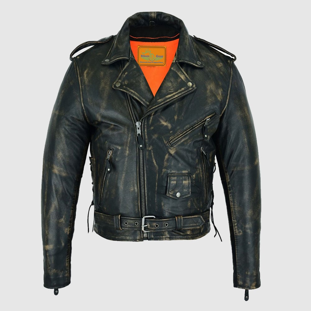 Distressed Men's Brown Motorcycle Leather Jacket with Gun Pockets