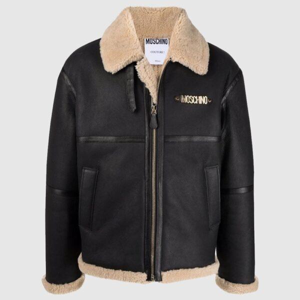 Moschino logo-plaque shearling jacket aviator leather jacket