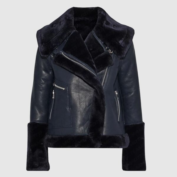Navy Blue Lambskin Leather And Faux Fur Coat