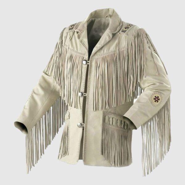 Western Men Cowboy Suede Jacket White Suede Leather Jacket