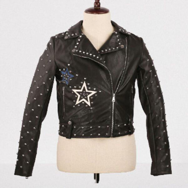 Women Black Leather Studded Jacket With Stars Studded Fashion Jacket