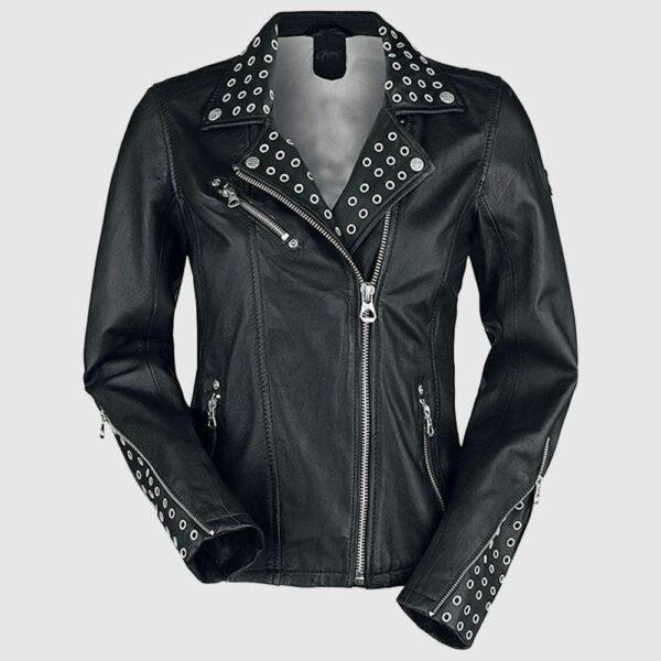 Women Cool Rivet Black Leather Slim Fit Studded Leather Jacket
