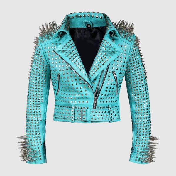 Women Silver Studs Premium Leather Zippered Spiked Brando Jacket