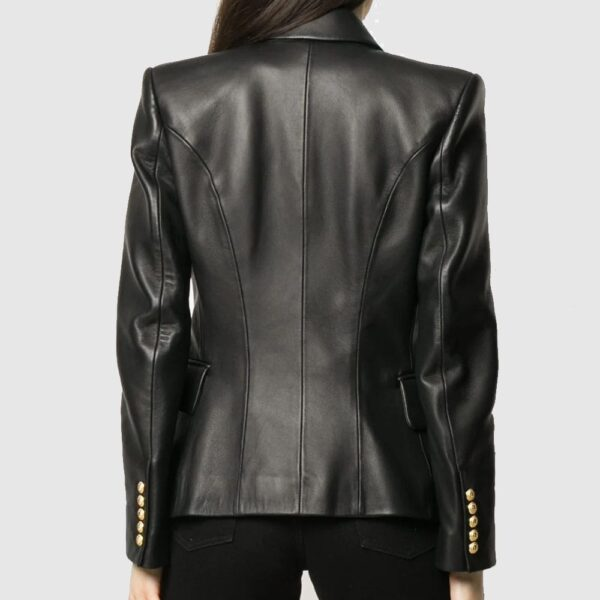 Balmain buttoned leather jacket women leather Blazer leather coat