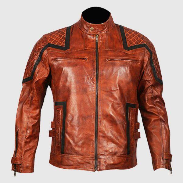 101 Tan Vintage Motor Biker Real Leather Jacket