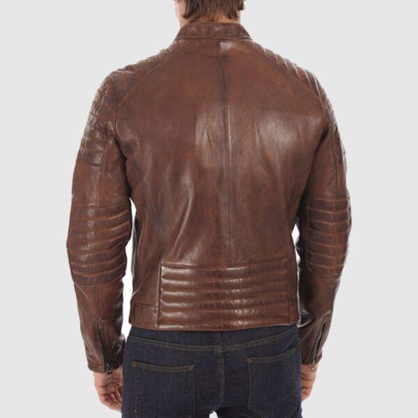 Amazing Brown Biker Leather Jacket For Men